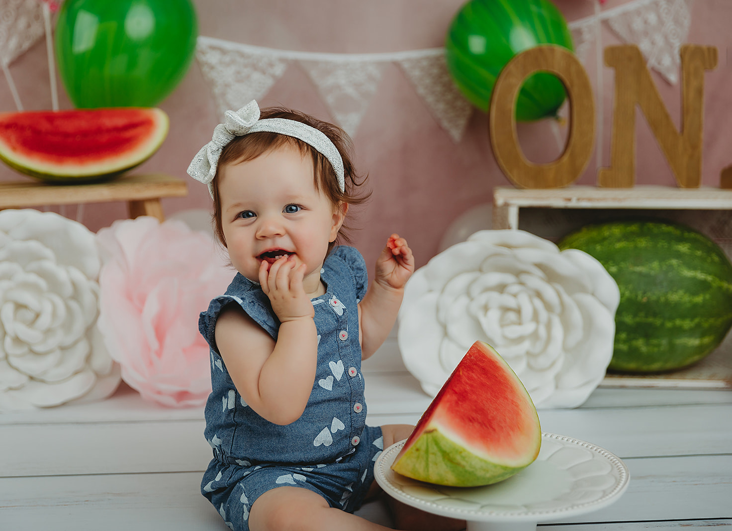 Toddler girl watermelon birthday smash