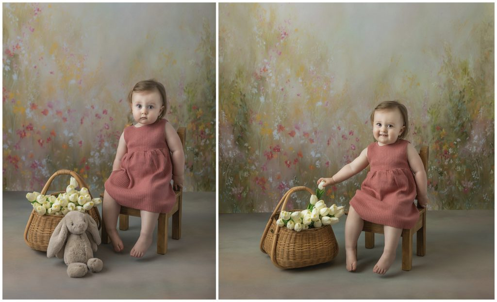Portrait of toddler girl in coral dress with tulips.