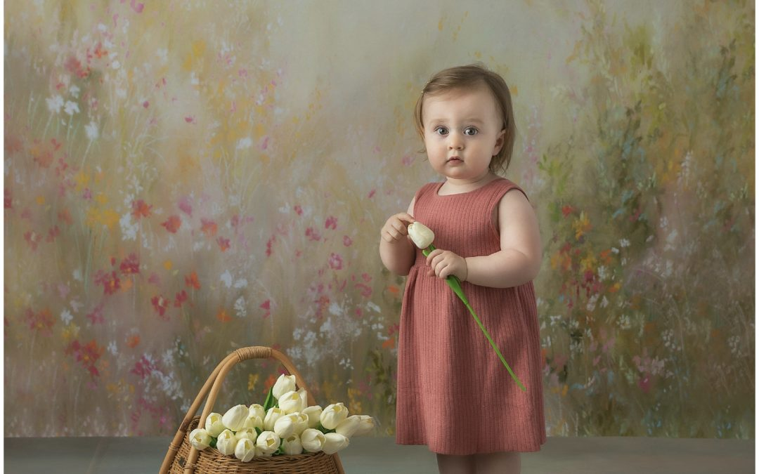 Ruby's Springtime Milestone Portraits | Bloomington Child Photographer