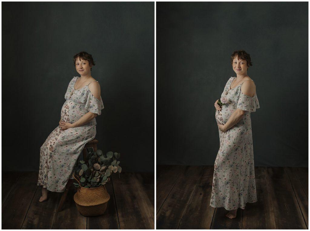 Fine Art Maternity Photography Session in Studio