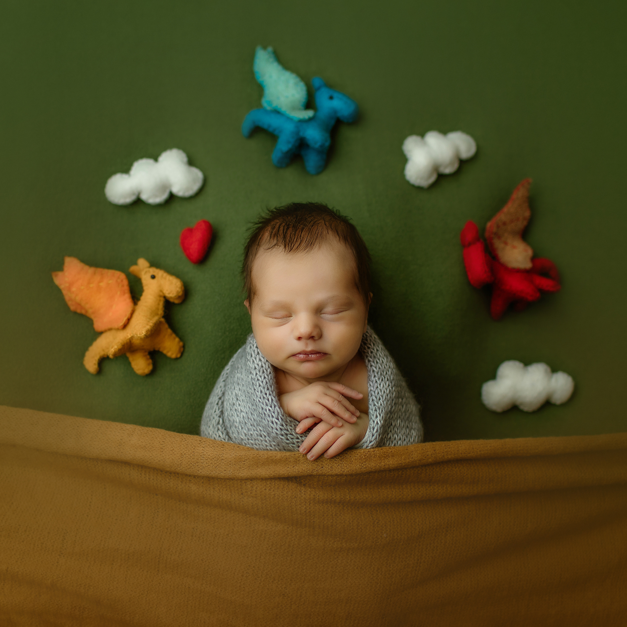 Newborn portrait of baby in grap wrap with yellow blanket and felted dragons